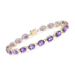 11.00 ct. t.w. Oval Amethyst Bracelet in 14kt Yellow Gold, , default