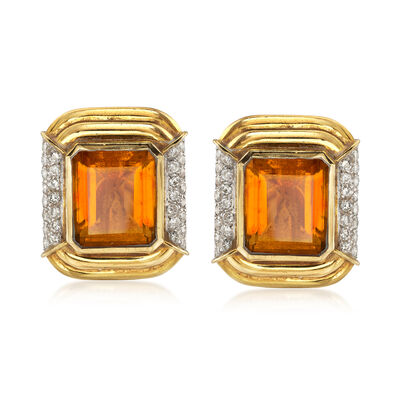 C. 1980 Vintage 15.00 ct. t.w. Citrine and 1.20 ct. t.w. Diamond Clip-On Earrings, , default