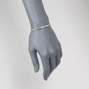"Charles Gavnier ""Nardini"" .80 ct. t.w. CZ Bar Bolo Bracelet in Two-Tone Sterling Silver. 7"", , default"