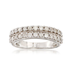 1.00 ct. t.w. Diamond Double-Row Ring in Sterling Silver, , default