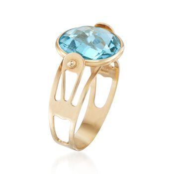 Italian 4.80 Carat Blue Topaz Ring in 14kt Yellow Gold. Size 5, , default