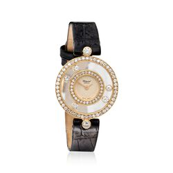 "C. 1980 Vintage Chopard ""Happy"" Women's 24mm 1.40 ct. t.w. Diamond Watch in 18kt Gold With Black Leather , , default"