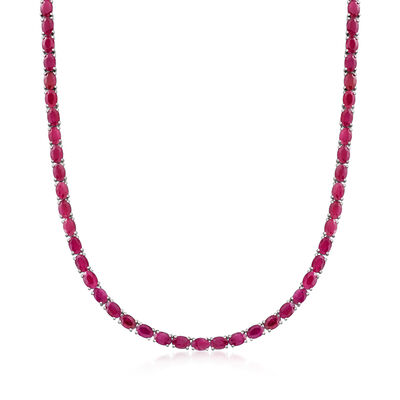 40.00 ct. t.w. Ruby Tennis Necklace in Sterling Silver