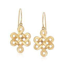 14kt Yellow Gold Endless Knot Drop Earrings, , default