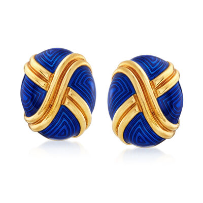 C. 1970 Vintage Blue Enamel and 18kt Yellow Gold X Earrings, , default