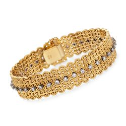 "C. 1960 Vintage 1.80 ct. t.w. Diamond Wide Woven Bracelet in 18kt Yellow Gold. 7.5"", , default"