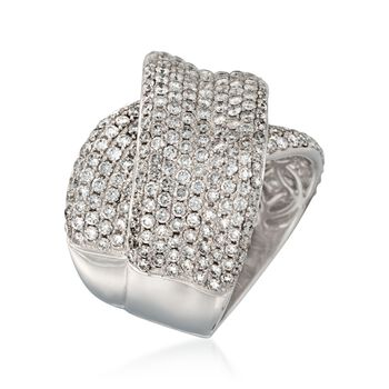 3.93 ct. t.w. Pave Diamond Crisscross Ring in 18kt White Gold . Size 7, , default