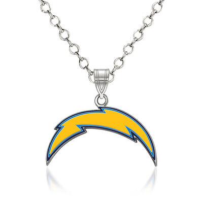 "Sterling Silver NFL Los Angeles Chargers Enamel Pendant Necklace. 18"", , default"