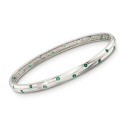 ".75 ct. t.w. Emerald Bangle Bracelet in Sterling Silver. 7"", , default"
