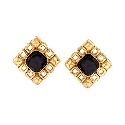Italian 11x11mm Black Onyx Earrings in 14kt Yellow Gold