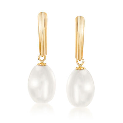 8.5-9mm Cultured Pearl Drop Earrings in 14kt Yellow Gold, , default
