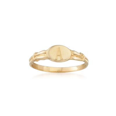 Child's 14kt Yellow Gold Single Initial Signet Ring, , default