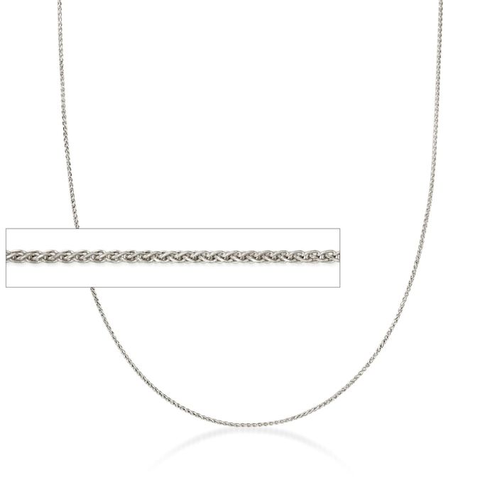 .6mm 14kt White Gold Wheat Chain Necklace, , default