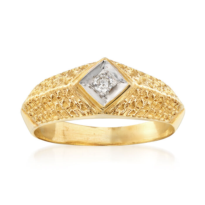 C. 1980 Vintage 14kt Yellow Gold Ring with a Diamond Accent. Size 6, , default