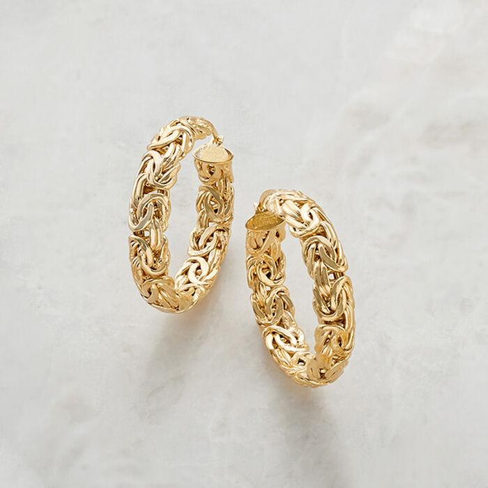 18kt Gold Over Sterling Medium Byzantine Hoop Earrings