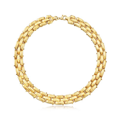 Italian 18kt Gold Over Sterling Triple-Row Panther-Link Necklace, , default