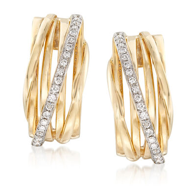 .42 ct. t.w. Diamond Crisscross Drop Earrings in 14kt Yellow Gold , , default