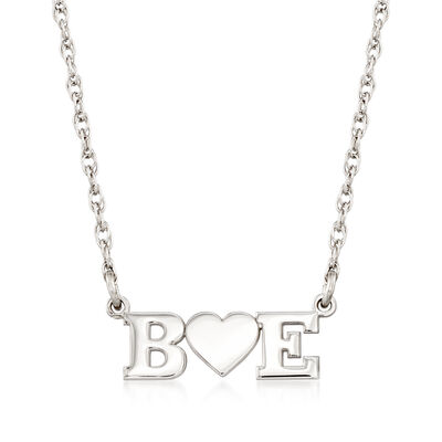 Sterling Silver Two-Initial and Heart Necklace, , default