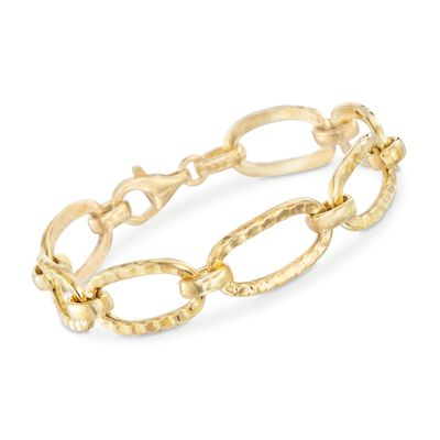 Italian 18kt Gold Over Sterling Hammered Oval Link Bracelet, , default