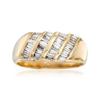 C. 1990 Vintage 1.40 ct. t.w. Baguette Diamond Ring in 14kt Yellow Gold. Size 9.75, , default