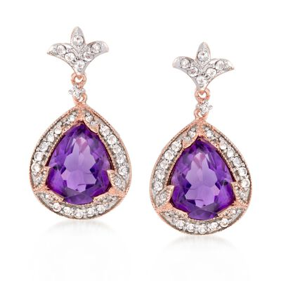 4.20 ct. t.w. Amethyst and .40 ct. t.w. White Topaz Drop Earrings with Diamonds in 14kt Rose Gold Over Sterling