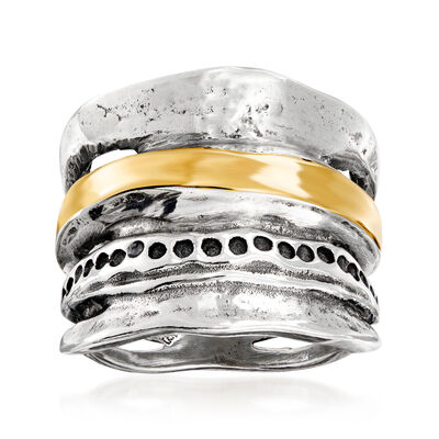 Sterling Silver and 14kt Yellow Gold Open-Space Ring