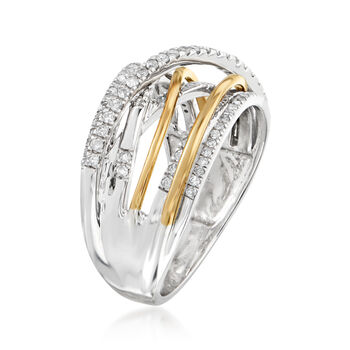 .50 ct. t.w. Diamond Highway Ring in Sterling Silver with 14kt Yellow Gold