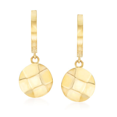 14kt Yellow Gold Basketweave Round Disc Drop Earrings