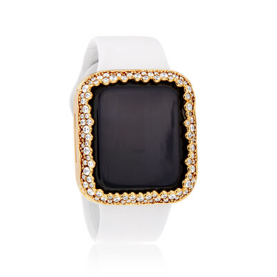 2.61 ct. t.w. CZ Apple-Inspired Halo Bezel Watch Case in Gold-Plated Brass