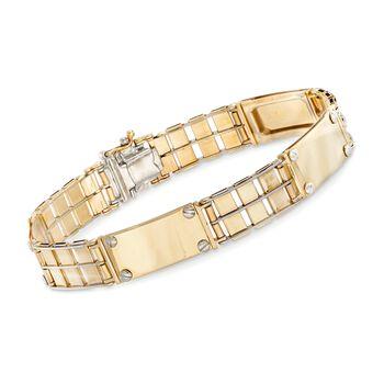 """Men's 14kt Two-Tone Gold Link Bar Bracelet. 8.5"""", , default"""