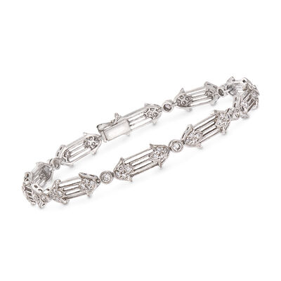 C. 1990 Vintage 1.20 ct. t.w. Diamond Floral Bracelet in 18kt White Gold, , default