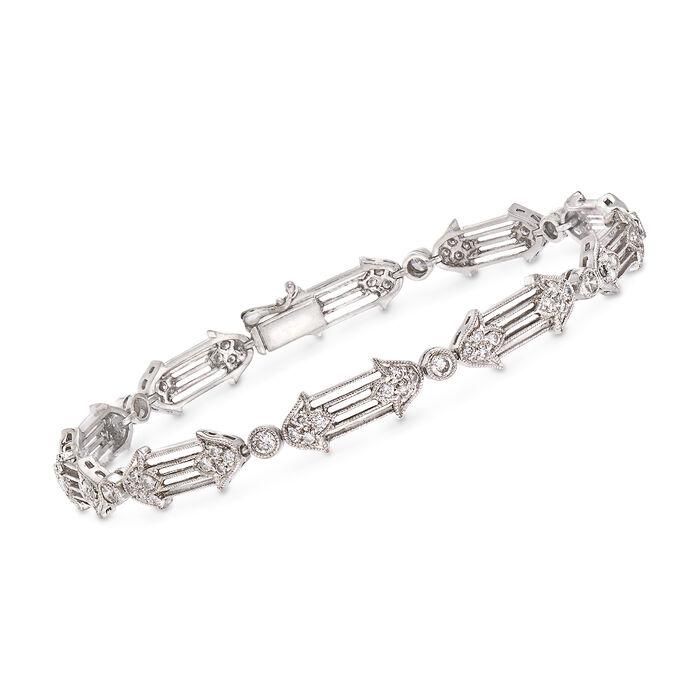 "C. 1990 Vintage 1.20 ct. t.w. Diamond Floral Bracelet in 18kt White Gold. 7"""