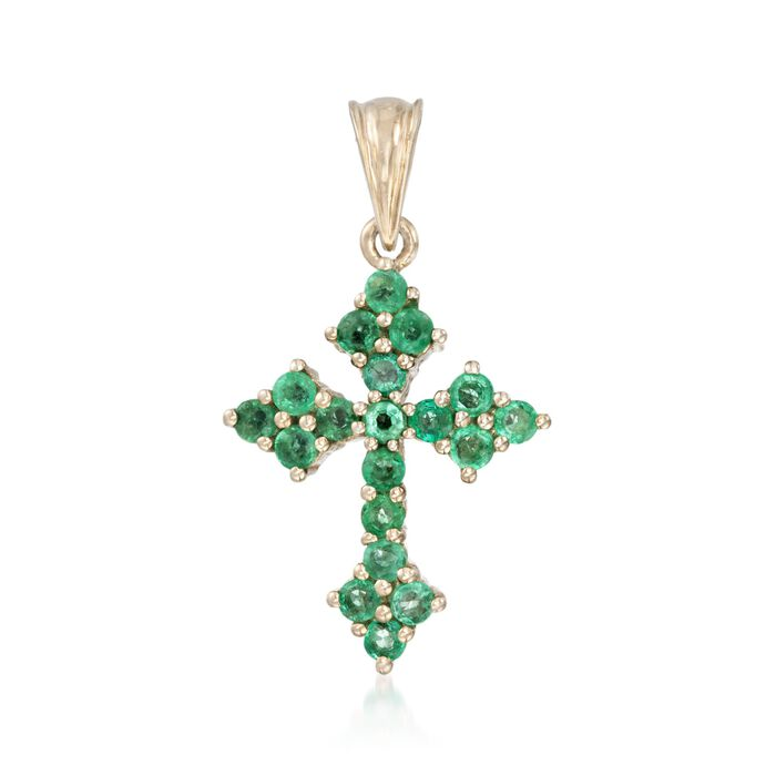 1.30 ct. t.w. Zambian Emerald Cross Pendant in 14kt Gold Over Sterling. Pendant