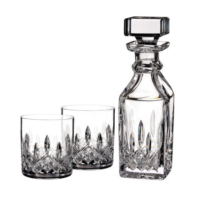 "Waterford Crystal ""Connoisseur"" Set of 2 Lismore Tumbler Glasses with Square Decanter"