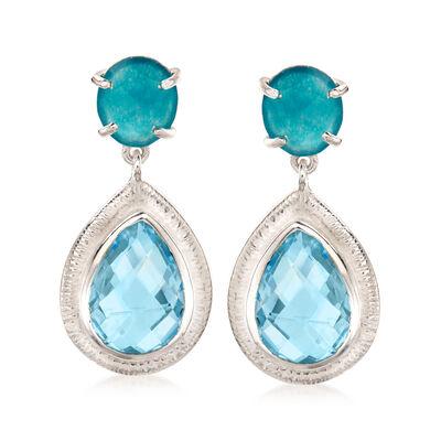 12.00 ct. t.w. Sky Blue Topaz and 4.00 ct. t.w. Blue Quartz Drop Earrings in Sterling Silver