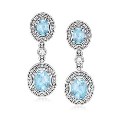 6.20 ct. t.w. Sky Blue and White Topaz Drop Earrings in Sterling Silver