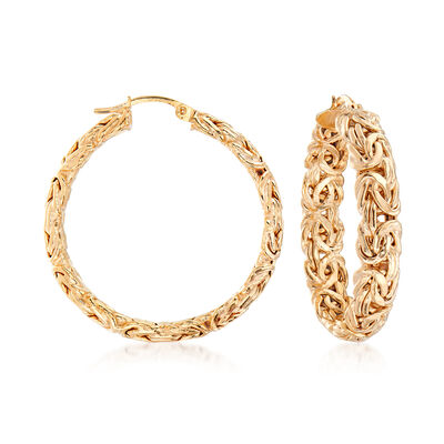 18kt Yellow Gold Over Sterling Silver Large Byzantine Hoop Earrings, , default