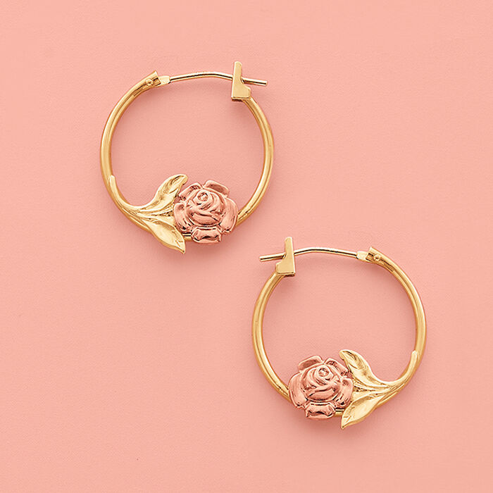 14kt Two-Tone Gold Floral Hoop Earrings