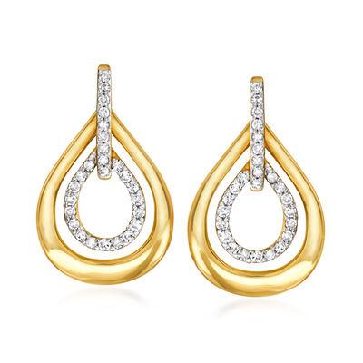 .25 ct. t.w. Diamond Open-Space Teardrop Earrings in 14kt Yellow Gold
