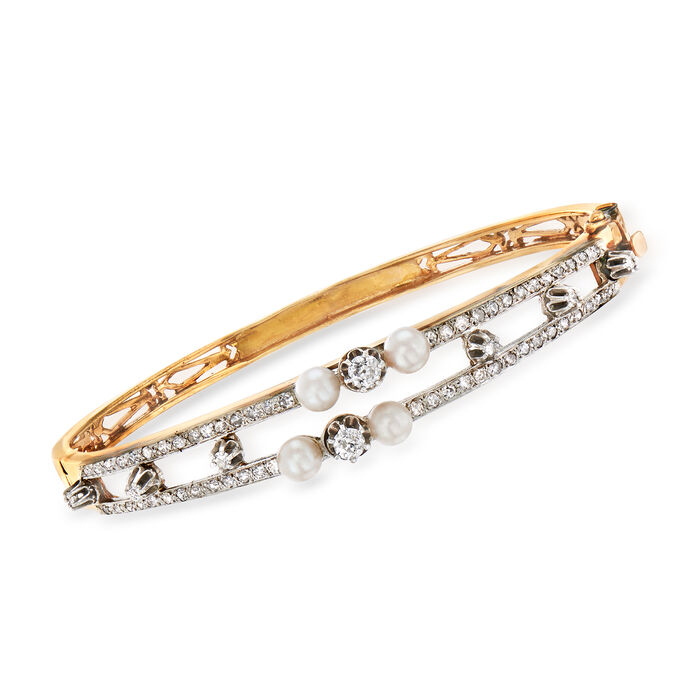 """C. 1950 Vintage Cultured Pearl and 1.35 ct. t.w. Diamond Bangle Bracelet in 14kt Yellow Gold. 8"""""""