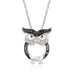 "Sterling Silver Owl Pendant Necklace With Black and White Diamond Accents. 18"", , default"