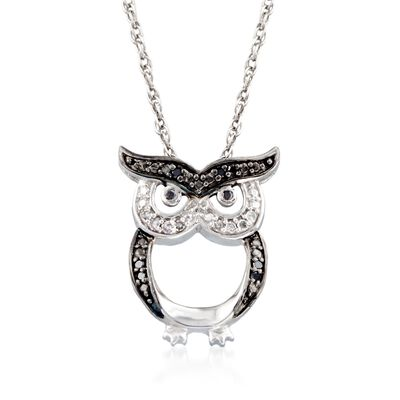Sterling Silver Owl Pendant Necklace with Black and White Diamond Accents, , default