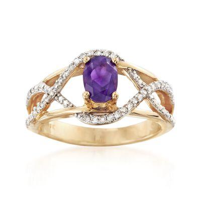 .90 Carat Amethyst and .20 ct. t.w. Diamond Ring, , default