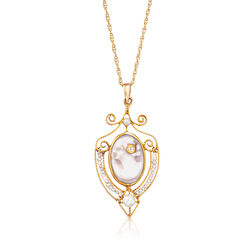 C. 1940 Vintage Cultured Pearl Shell Cameo Pendant Necklace in 14kt Yellow Gold, , default