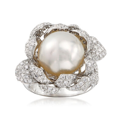 13.5mm Cultured South Sea Pearl and 2.35 ct. t.w. Diamond Floral Ring in 18kt White Gold, , default