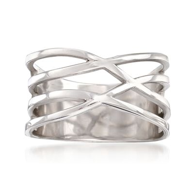 Italian Sterling Silver Multi-Row Crisscross Ring, , default