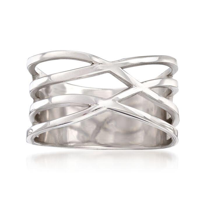 Italian Sterling Silver Multi-Row Crisscross Ring, , default