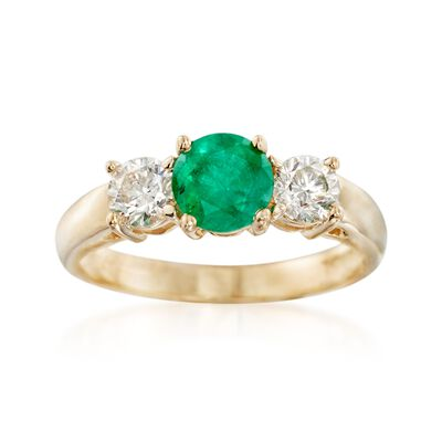.80 Carat Emerald and .60 ct. t.w. Diamond Ring in 14kt Yellow Gold