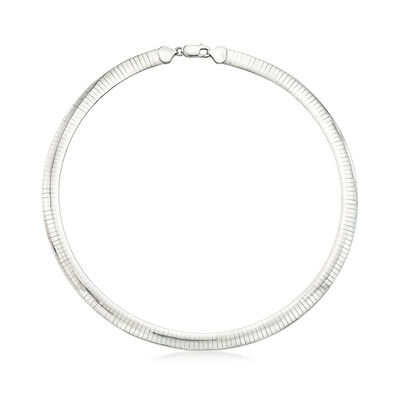 Italian 8mm Sterling Silver Omega Necklace, , default