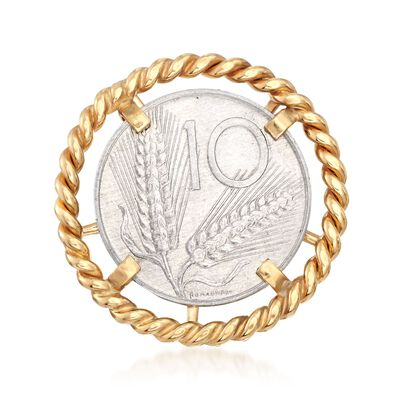 Italian Genuine 10-Lira Coin Ring in 18kt Gold Over Sterling, , default